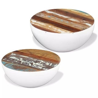 vidaXL Two Piece Bowl Shaped Coffee Table Set Reclaimed Wood