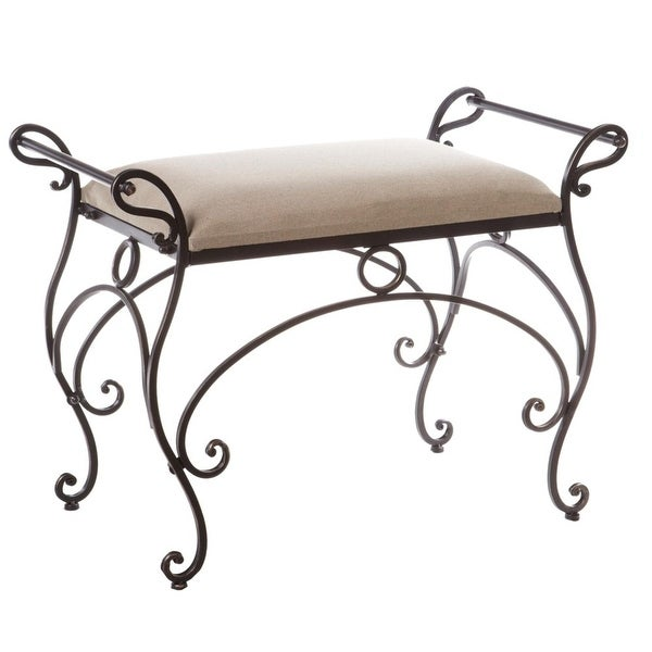 Shop 29 75 Decorative Oatmeal Linen Vanity Bench With Iron Scroll