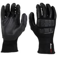 MadGrip 0MG14F5 BLK M Ergo Impact Work Gloves, Black, Medium
