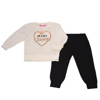 "Girls Pink Little Girls White ""Drama Queen"" Heart Detail 2 Pc Pant Outfit"