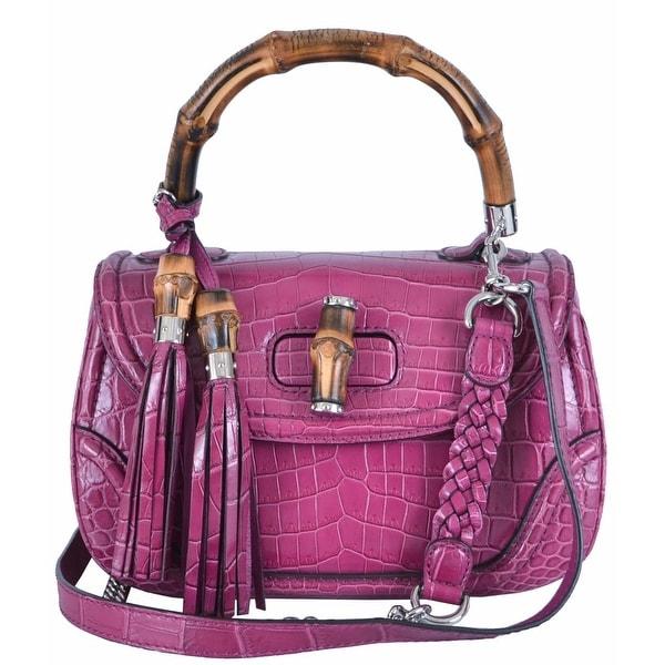 68f6da6f3bc1 Shop Gucci 240242 Pink Crocodile Bamboo Convertible Handbag Purse Bag -  Free Shipping Today - Overstock.com - 11950018