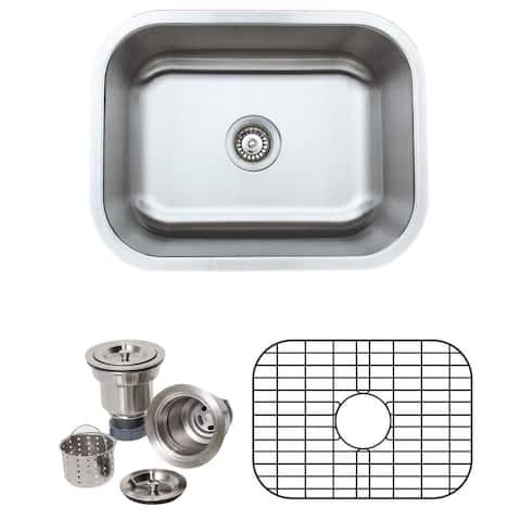 Wells Sinkware Craftsmen Series 23-inch 16-gauge Undermount Single Bowl Stainless Steel Kitchen Sink Package