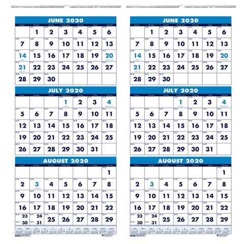 "Vertical Academic 3-Month Wall Calendar, June-July, 8"" x 17"", Pack of 2 - One Size"