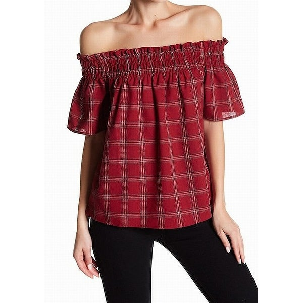db7dfac3 Shop Socialite Red Womens Size Medium M Plaid Off Shoulder Smocked Blouse -  On Sale - Free Shipping On Orders Over $45 - Overstock - 22359616