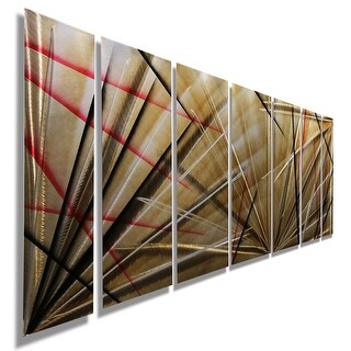 Statements2000 Gold Red Earth Tones Abstract Metal Wall Art Panels By Jon Allen Meteor Eclipse Ping The Best Deals On