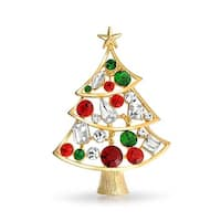 Bling Jewelry Christmas Tree Pin Imitation Emerald Crystal Gold Plated
