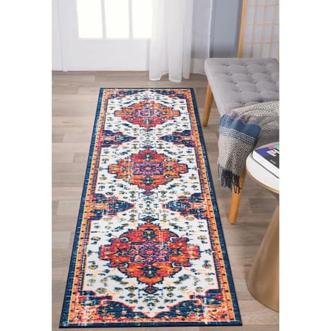 Distressed Traditional Bohemian Non Skid Area Rug
