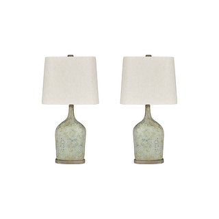 "Link to Maribeth Vintage Casual Sage Paper Table Lamp - Set of 2 - 14""W x 9""D x 28""H Similar Items in Table Lamps"