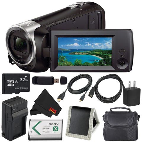 Sony HDR-CX405 HD Handycam HDRCX405/B + External Rapid Charger + 32GB microSDHC Card + Carrying Case + Memory Card Wallet Bundle
