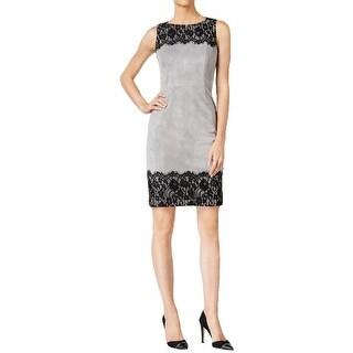 Calvin Klein Womens Petites Evening Dress Faux Suede Lace
