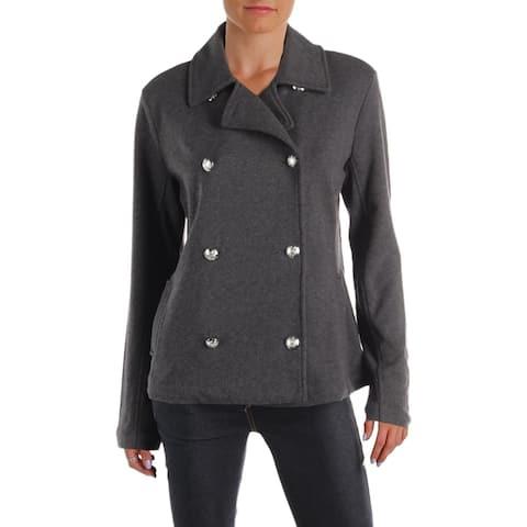 Lauren Ralph Lauren Womens Pea Coat French Terry Double-Breasted