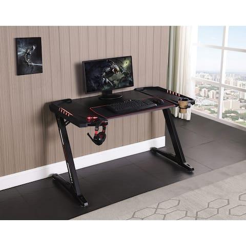 Ardsley Black Z-framed Gaming Desk with LED Lighting