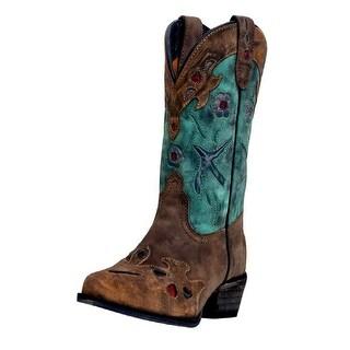 Dan Post Western Boots Girls Bluebird Kids Cowboy Tan Teal DPC3151
