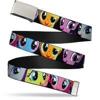 Blank Chrome Buckle Pony Faces Close Up Blocks Black Webbing Web Belt