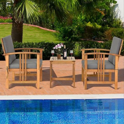 3PCS Patio Acacia Wood Sofa Set Conversation Set with Cushions