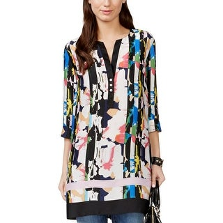 Grace Elements Womens Tunic Top Printed Elbow Sleeves