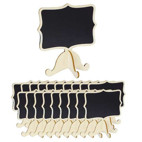20pcs Wood Mini Chalkboard Signs w Support Easel DIY for Message Tags - Beige