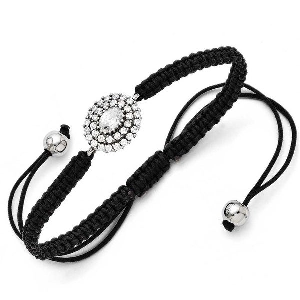 Chisel Stainless Steel CZ Black Macrame Adjustable Bracelet