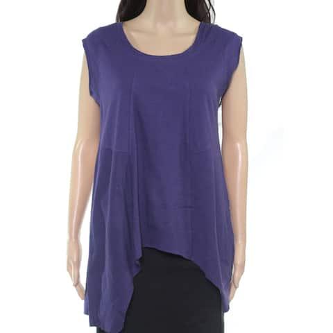 prAna Womens Top Purple Size Medium M Knit Scoop Neck Raw Hem Hi Low
