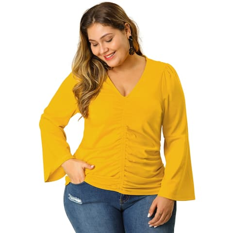 Women's Plus Size V Neck Long Sleeve Ruffle Stretch Ruched Top