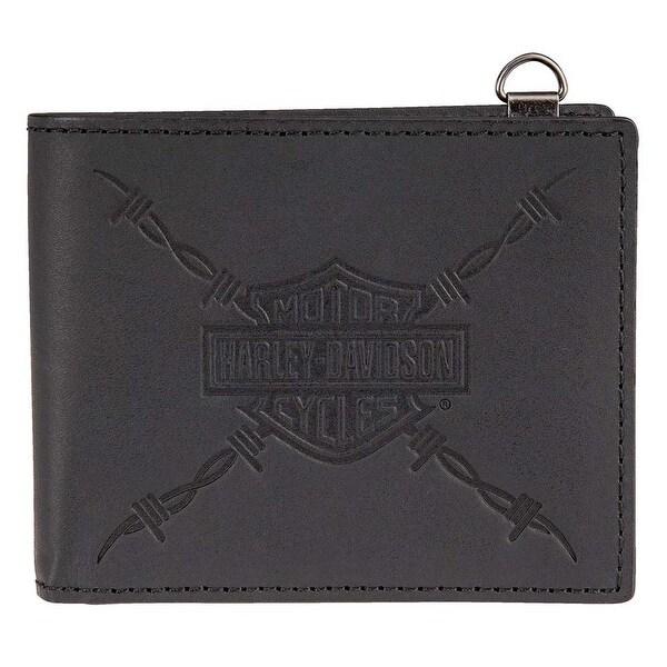 "Harley-Davidson Men's Danger Zone Bi-Fold Genuine Leather Wallet HDMWA11214-BLK - 4.25"" x 3.5"""
