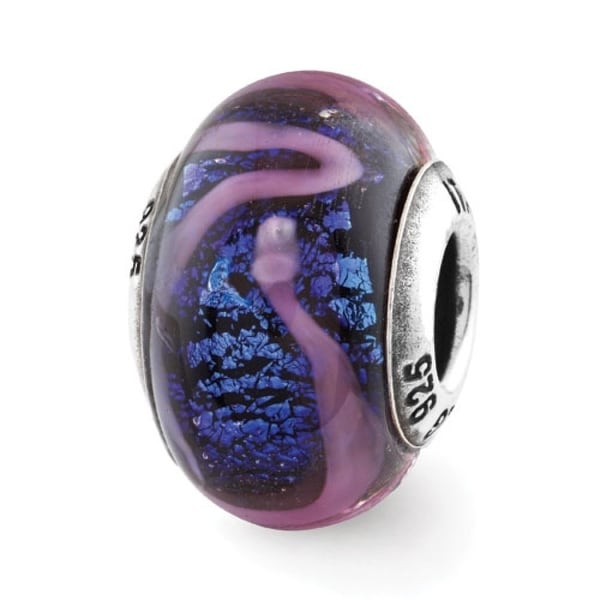 Italian Sterling Silver Reflections Blue with Purple Swirls Glass Bead (4mm Diameter Hole)