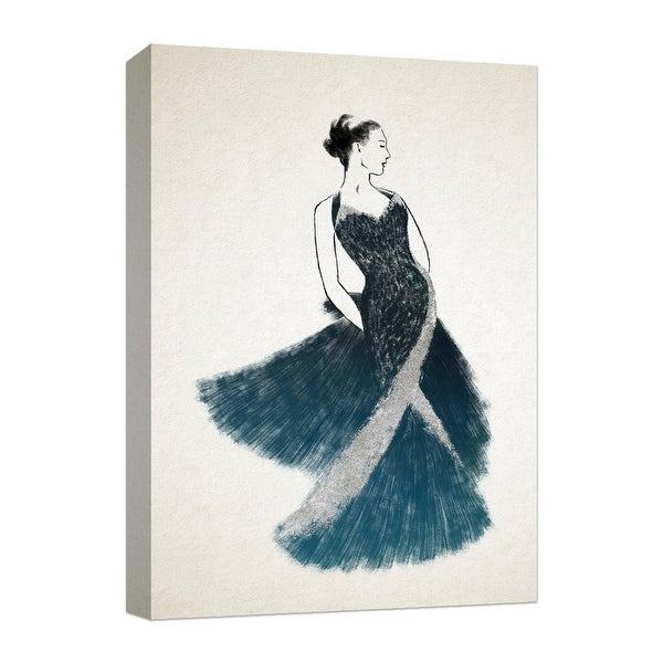 """PTM Images 9-124850 PTM Canvas Collection 10"""" x 8"""" - """"Black in Silver Dress"""" Giclee Women Art Print on Canvas"""