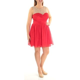 Womens Red Sleeveless Above The Knee Fit + Flare Prom Dress Size: 13