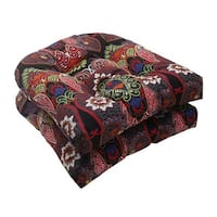 Set of 2 Black Paisley Maze Outdoor Patio Wicker Seat Cushions 19""
