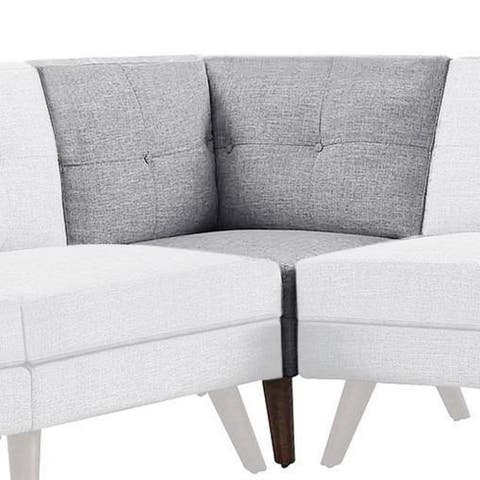 Fabric Upholstered Corner Chair with Tufted Back and Splayed Legs, Gray