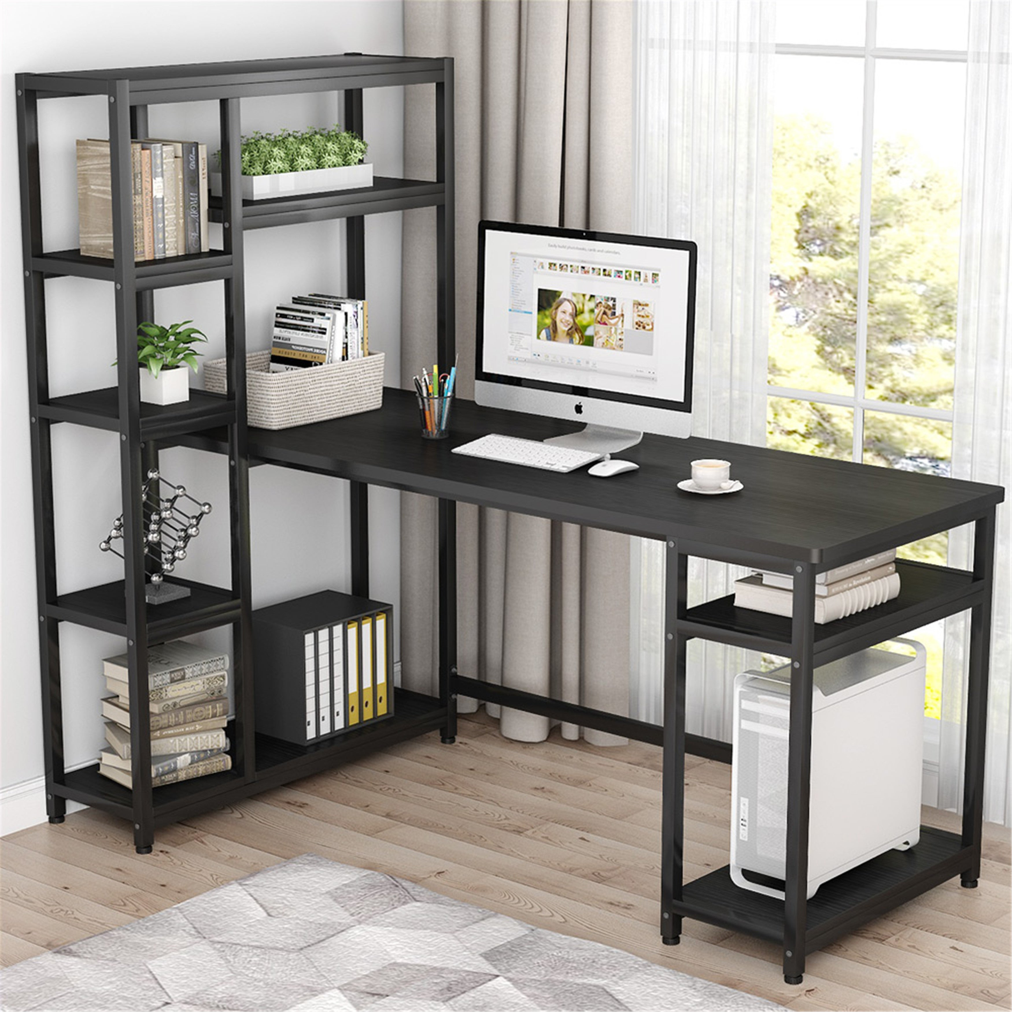 67 Reversible Large Computer Desk With 9 Storage Shelves Overstock 31514286