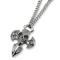 Chisel Polished Stainless Steel Skull and Cross Necklace on 24 Inch Chain (4 mm) - 24 in