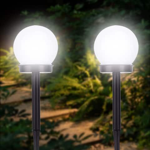 Solar Sensor Ball Smart Light Control Outdoor Waterproof Lawn Light Set of 2