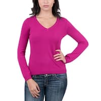 Real Cashmere Fuschia V-Neck Womens Sweater