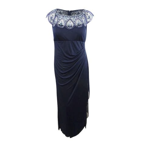Xscape Women's Plus Size Illusion Beaded Gown