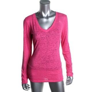 Jenni by Jennifer Moore Womens Sleep Shirt Burnout Long Sleeves - XS