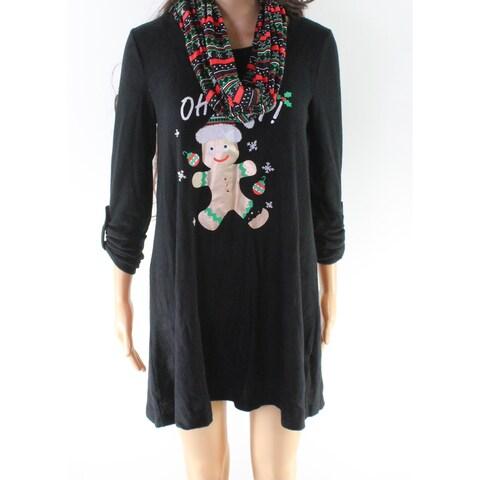 Derek Heart Black Size Medium M Junior Oh Snap X-Mas Sweater Dress
