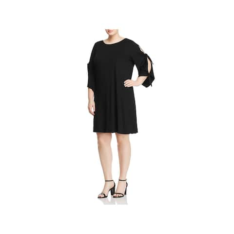 Cupio Womens Plus Midi Dress Knotted Arm Boatneck
