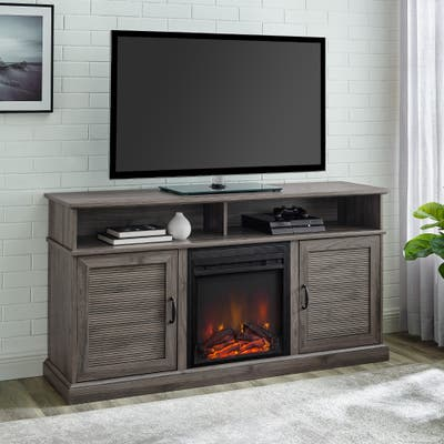 Copper Grove 60-inch Fluted Door Fireplace TV Console