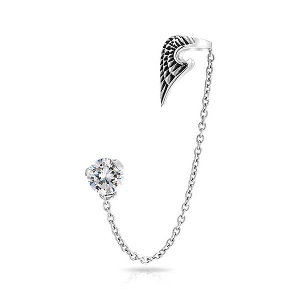 Angel Wing 316l Stainless Steel Ear Cuff Chain Clear Cz Earring