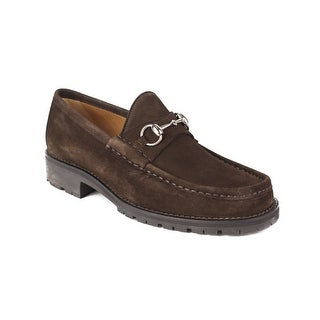 GUCCI Men's Suede Loafer Moccasin Shoes Brown
