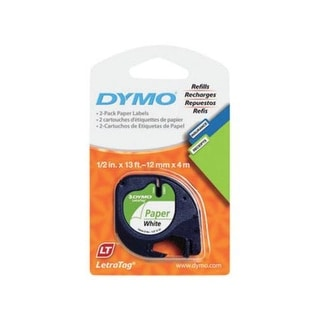 "Dymo 10697 Paper Label Refill Tape 1/2""x13', White"