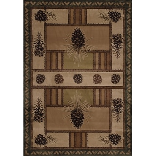 Link to Westfield Home Wildwood Pine Border Hand-carved Area Rug Similar Items in Rugs