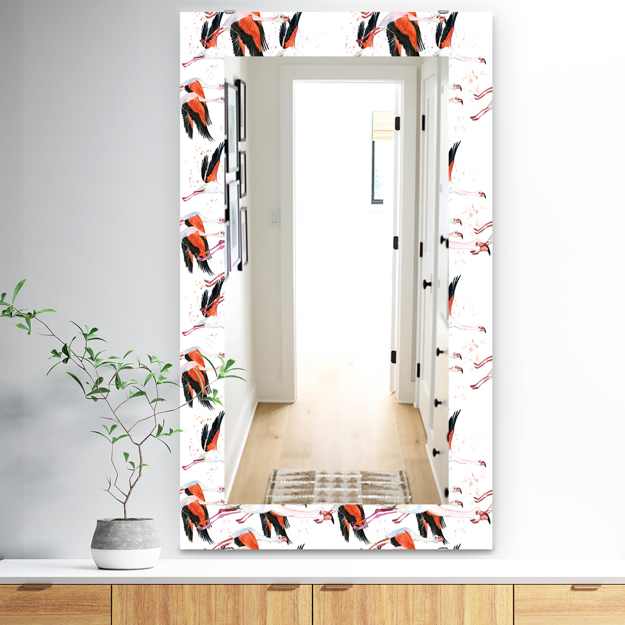 Designart Flamingo Tropical Traditional Mirror Frameless Vanity Mirror On Sale Overstock 28022069