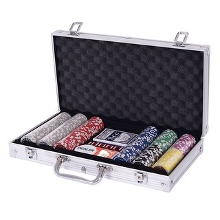 Costway Poker Chip Set 300 Dice Chips Texas Hold'em Cards with Sliver Aluminum Case - as pic