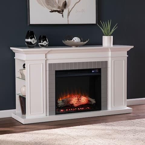 SEI Furniture Repetto Transitional White Wood Electric Fireplace