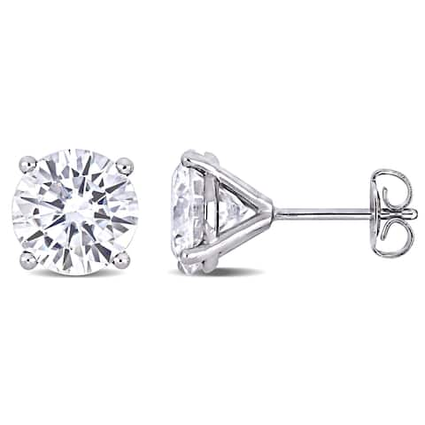 Miadora 4ct DEW Moissanite Solitaire Stud Earrings in 14k White Gold