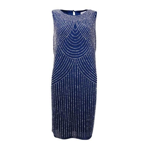 Joanna Chen Women's Sleeveless Beaded Embellished Dress - Denim - 6