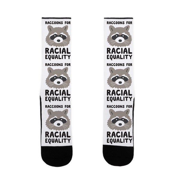 LookHUMAN Raccoons For Racial Equality US Size 7-13 Socks