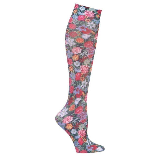 Women's Printed Mild Compression Wide Calf Knee High Stockings - Flowers by Night